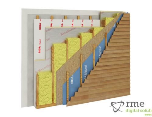 3D Illustration of Wall Panel Section