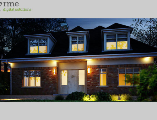 3D Rendering of House Exterior – Night Shot