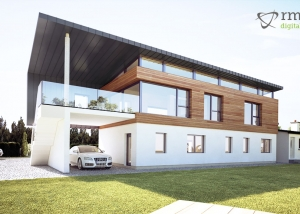 View of a 3D CGI House Exterior